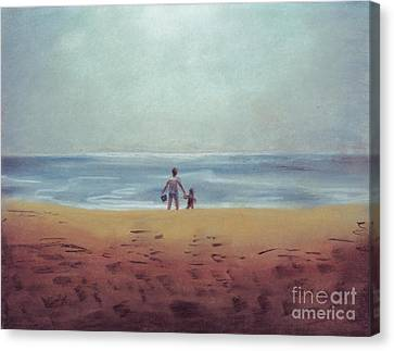 Daddy At The Beach Canvas Print by Samantha Geernaert