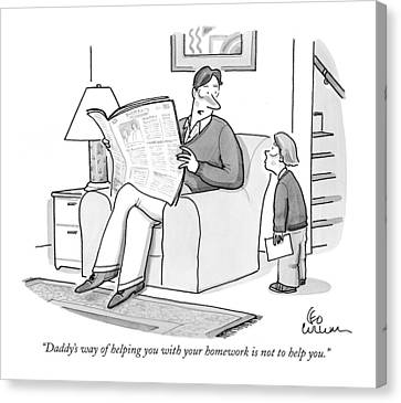 Help Canvas Print - Daddy's Way Of Helping You With Your Homework by Leo Cullum