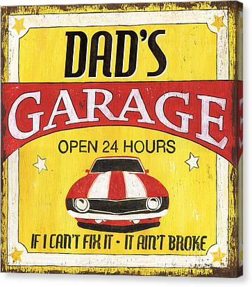 Vintage Sign Canvas Print - Dad's Garage by Debbie DeWitt