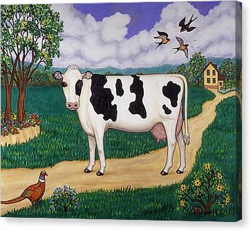 Cows Canvas Print - Dad's Prize Milk Cow by Linda Mears