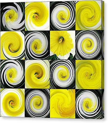 Floral Digital Art Canvas Print - Daffodil Spring Mosaic by Sarah Loft