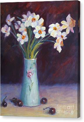 Daffodils And Cherries Canvas Print by Carolyn Jarvis