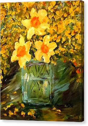 Daffodils And Forsythia Canvas Print by Barbara Pirkle