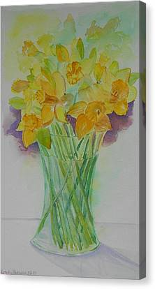 Daffodils In Glass Vase - Watercolor - Still Life Canvas Print by Geeta Biswas