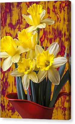 Daffodils In Orange Pitcher Canvas Print