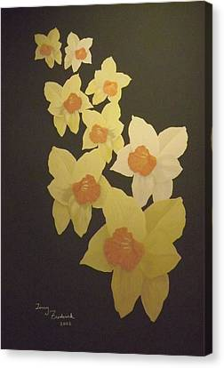 Canvas Print featuring the digital art Daffodils by Terry Frederick