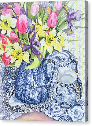 Daffodils Tulips And Irises With Blue Antique Pots  Canvas Print
