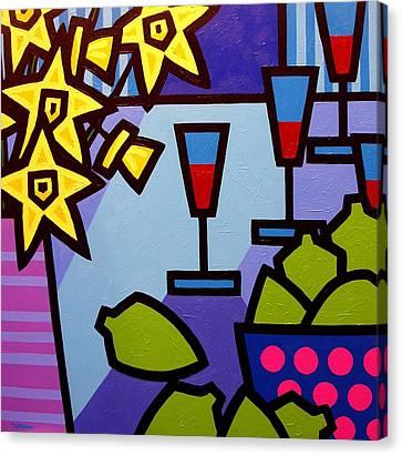 Daffs Wine And Limes Canvas Print by John  Nolan
