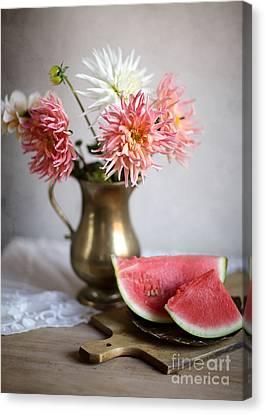 Watermelon Canvas Print - Dahlia And Melon by Nailia Schwarz