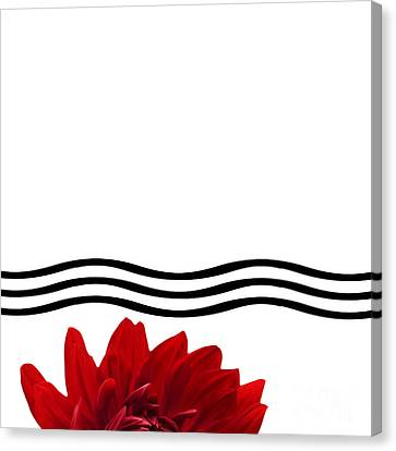 Dahlia Flower And Wavy Lines Triptych Canvas 1 - Red Canvas Print by Natalie Kinnear