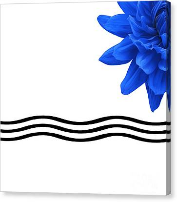 Dahlia Flower And Wavy Lines Triptych Canvas 3 - Blue Canvas Print by Natalie Kinnear