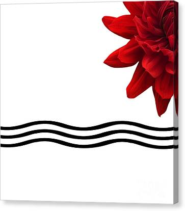 Dahlia Flower And Wavy Lines Triptych Canvas 3 - Red Canvas Print by Natalie Kinnear