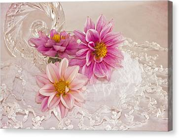 Canvas Print featuring the photograph Dahlias And Lace by Sandra Foster