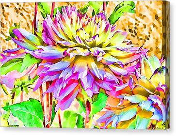Canvas Print featuring the photograph Dahlias In Digital Watercolor by Sandra Foster