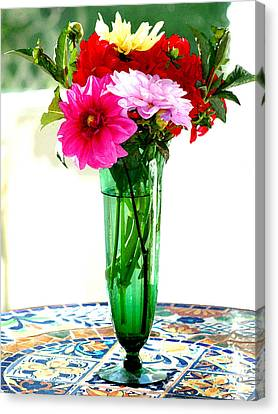 Dahlias On A Table In The Sun Canvas Print