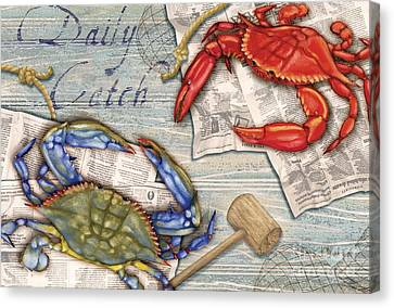 Daily Catch Crabs Canvas Print by Paul Brent