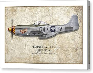 Dainty Dotty P-51d Mustang - Map Background Canvas Print by Craig Tinder