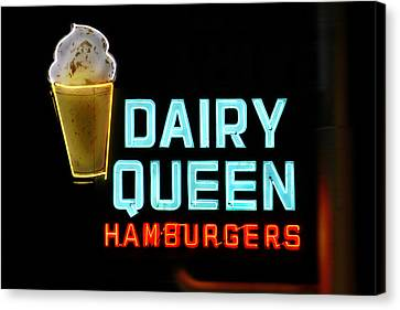 Dairy Queen Neon Sign - Route 66 Canvas Print by Mike McGlothlen