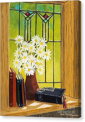 Canvas Print featuring the painting Daisies And Stained Glass Window by Val Miller