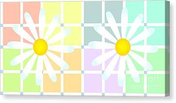 Daisies Over Soft Pastel Plaid Canvas Print