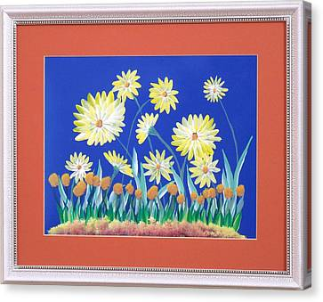 Canvas Print featuring the painting Daisies by Ron Davidson
