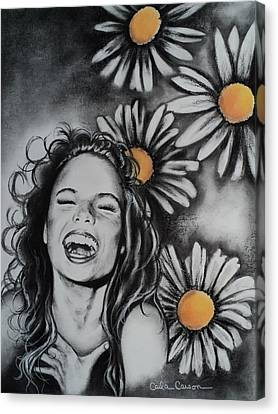 Canvas Print featuring the drawing Daisy by Carla Carson