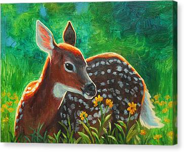 Daisy Deer Canvas Print by Crista Forest