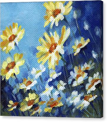 Canvas Print featuring the painting Daisy Field by Natasha Denger