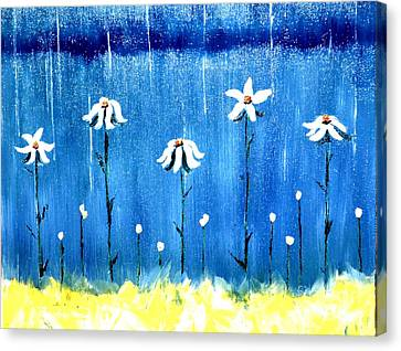 Daisy Rain Blue Canvas Print