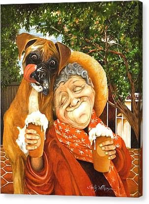 Dog Boxer Dog Canvas Print - Daisy's Mocha Latte by Shelly Wilkerson