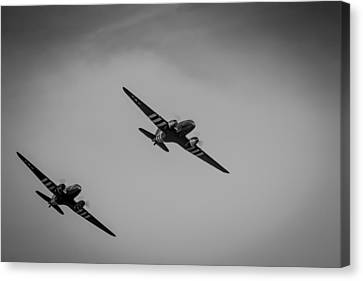 Canvas Print featuring the photograph Dakota D-day Black And White by Scott Lyons