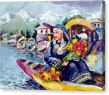 Dal Lake Jewel In The Crown Of Kashmir Canvas Print by Donna Jolly Jacob