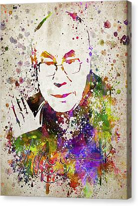 Dalai Lama In Color Canvas Print by Aged Pixel
