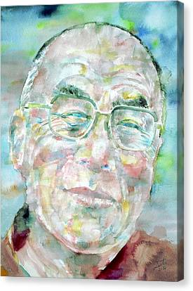 Dalai Lama - Watercolor Portrait Canvas Print by Fabrizio Cassetta