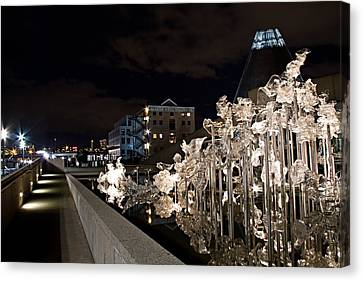 Dale Chihuley Exhibit Outdoors @ Night - Museum Of Glass Tacoma Wa Canvas Print by Rob Green