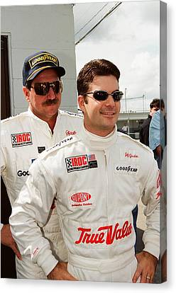 Dale Earnhardt Playing Jokes On Jeff Gordon Canvas Print by Retro Images Archive