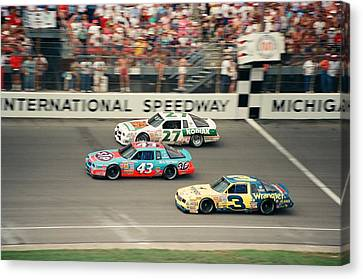 Dale Earnhardt Richard Petty And Rusty Wallace Race At Michigan Canvas Print by Retro Images Archive