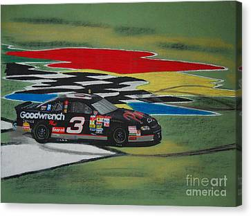 Dale Earnhardt Wins Daytona 500-infield Doughnuts Canvas Print by Paul Kuras