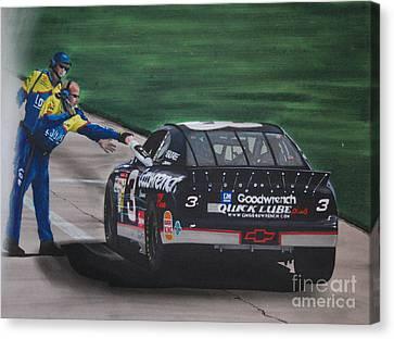 Dale Earnhardt Wins Daytona 500-pit Road Hand Shake Canvas Print by Paul Kuras