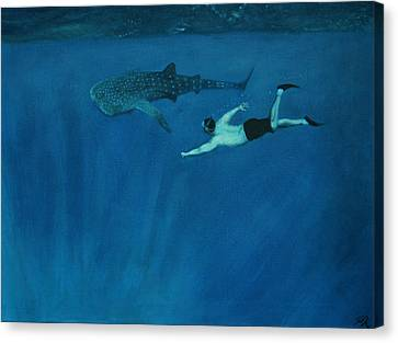 Dale Vs. The Whale Shark Canvas Print by Patrick Kelly