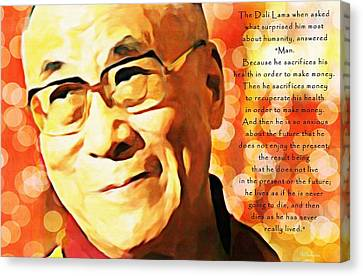 Dali Lama And Man Canvas Print