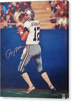 Dallas Cowboys Quarterback #12 Roger Staubach Canvas Print by Donna Wilson