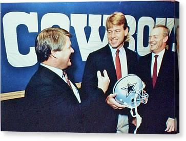 Dallas Cowboys Jimmy Johnson Troy Aikman Jerry Jones Canvas Print by Donna Wilson