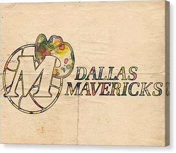 Dallas Mavericks Vintage Poster Canvas Print by Florian Rodarte