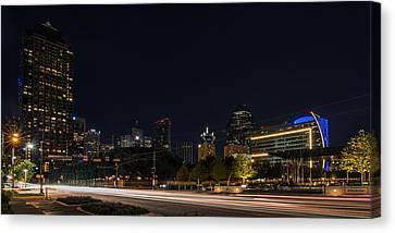 Dallas Night Skyline From Klyde Warren Park Canvas Print by Todd Aaron