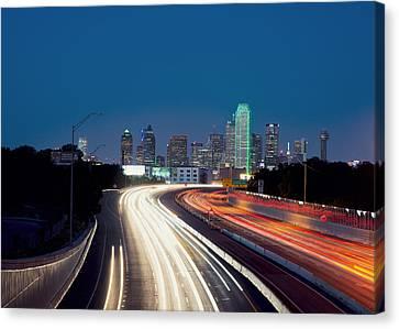 Dallas Night Skyline Light Trails Canvas Print by Rospotte Photography