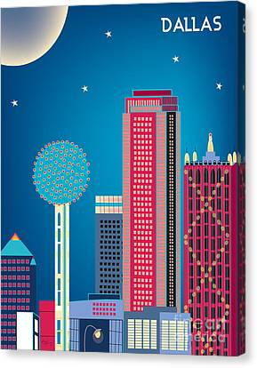 Dallas Nightime Skyline Canvas Print by Karen Young