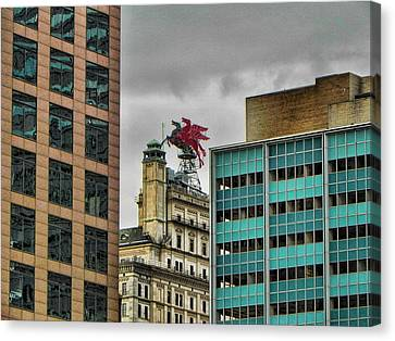 Canvas Print featuring the photograph Dallas Pegasus by Kathy Churchman