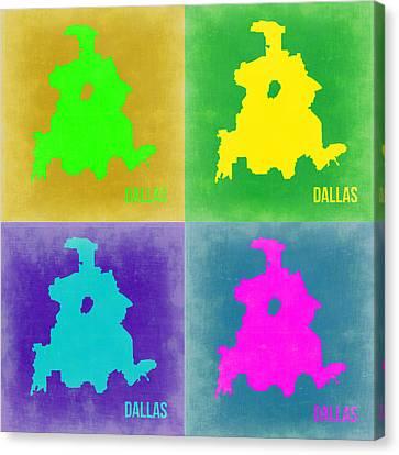 Dallas Pop Art Map 2 Canvas Print by Naxart Studio