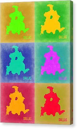 Dallas Pop Art Map 3 Canvas Print by Naxart Studio